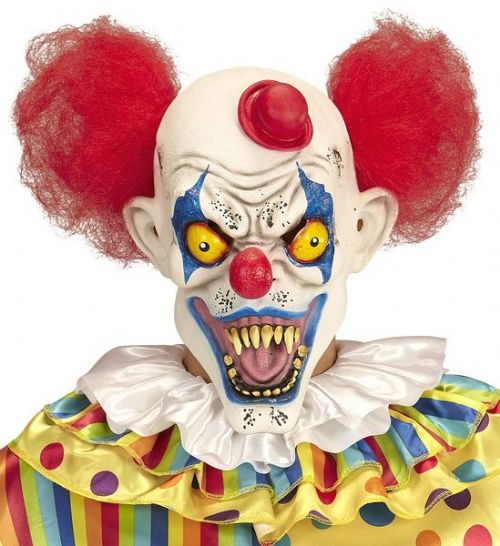 Killer Clown Mask with Hair & Mini Hat Murderer Halloween Fancy Dress Cosplay